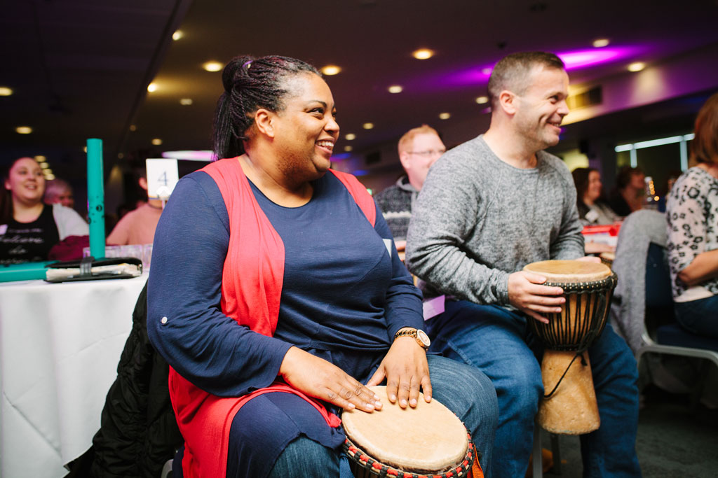 Indoor Team Building Event ideas featuring interactive drumming