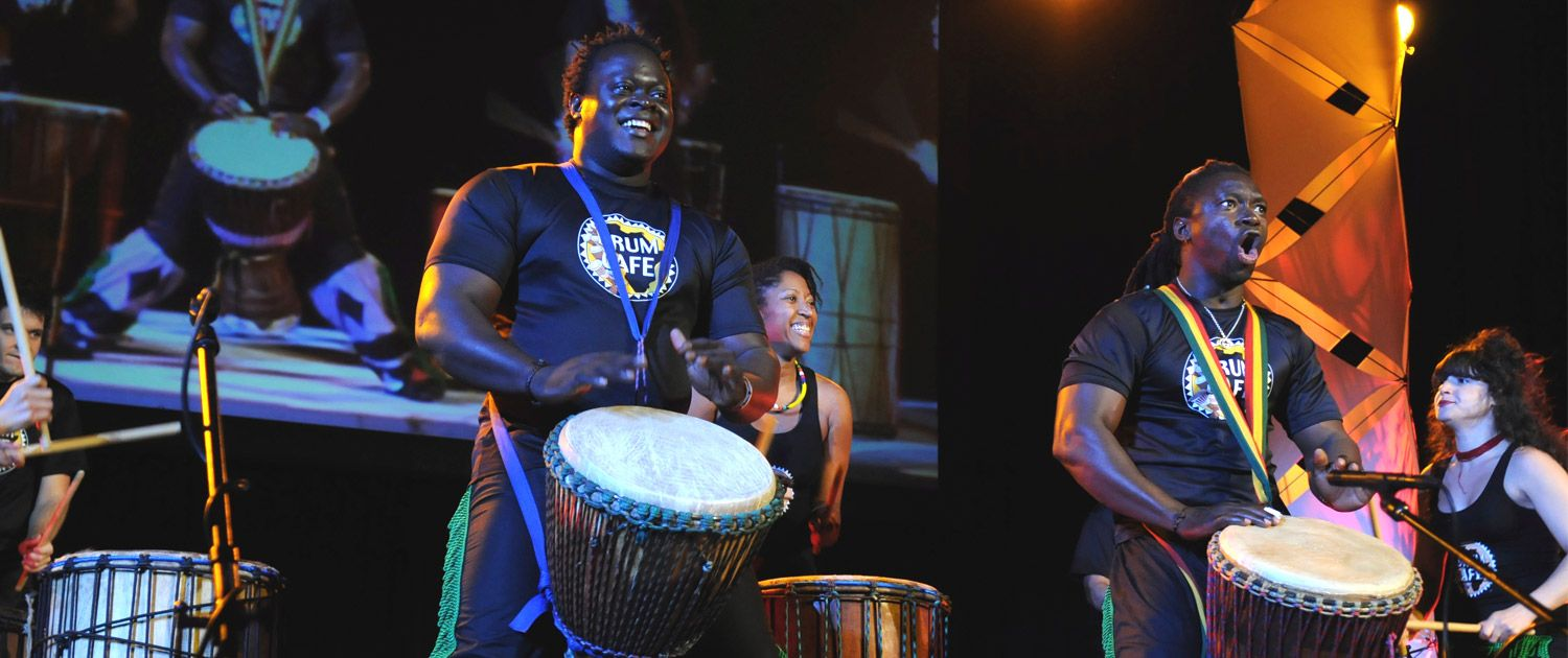 Drum Cafe Inspires and Unites Audience Groups with Interactive Team building using African Drumming and Rhythm